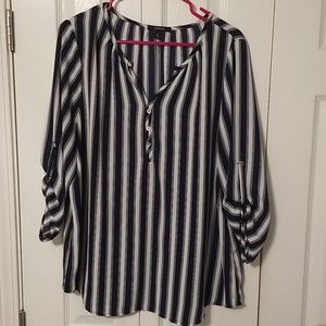 Espresso blouse navy blue and white striped